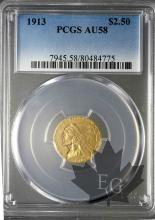 USA- 2 1/2 Dollars or indian head gold-AU58