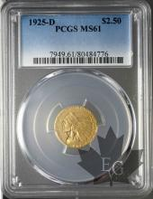 USA- 2 1/2 Dollars or indian head gold-MS61