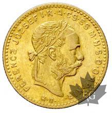 Hongrie-10 Frs - 4 Fl-or-gold-1870-1892