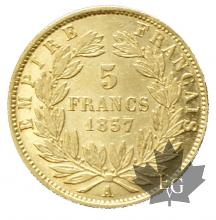 France - 5 francs or gold-tête nue-mixed years