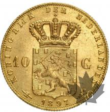 Pays Bas - 10 Gulden Guillemine tete jeune Holland gold or