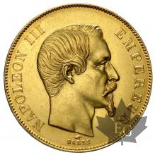 France - 50 francs or gold  Napoleon III 1855-59-Tête nue