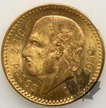 Mexique - 10 Pesos gold or - dates mixtes