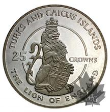TURKS AND CAICOS-25 CROWNS-SILVER-MIXED