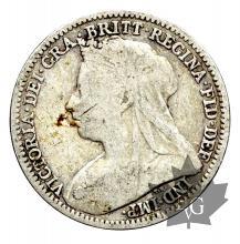 Royaume Uni-3 Pence silver- Victoria-1874-1901