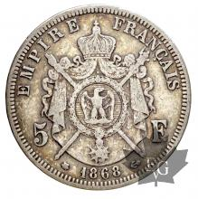 France - 5 francs Napoleon III tete lauree 1867-1870