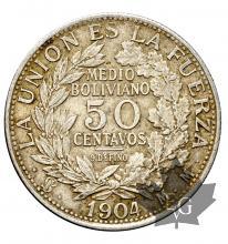 Bolivie-50 centavos-KM#175.1-silver-argent