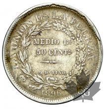 Bolivie-Medio Boliviano-KM#161.5-silver-argent