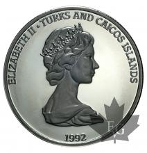 TURKS AND CAICOS-20 CROWNS-SILVER-1991-1992-MIXED